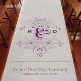 Fanciful Monogram Personalized Aisle Runner White With Hearts Lavender