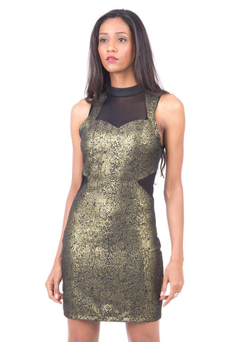 Print Front Bodycon Dress With Mesh Insert-Gold-Large - UK (12-14)