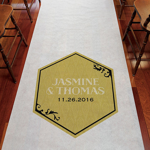 aisle, wedding aisle, aisle runner, runner, secure, sand, grass, outdoor, floor, personalize, non-woven, ceremony, wedding ceremony, white, black and gold