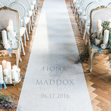Contemporary Vintage Personalized Aisle Runner White With Hearts Victorian Purple