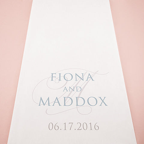 Contemporary Vintage Personalized Aisle Runner White With Hearts Fuchsia