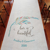 Feather Whimsy Personalized Aisle Runner Plain White Chocolate Brown