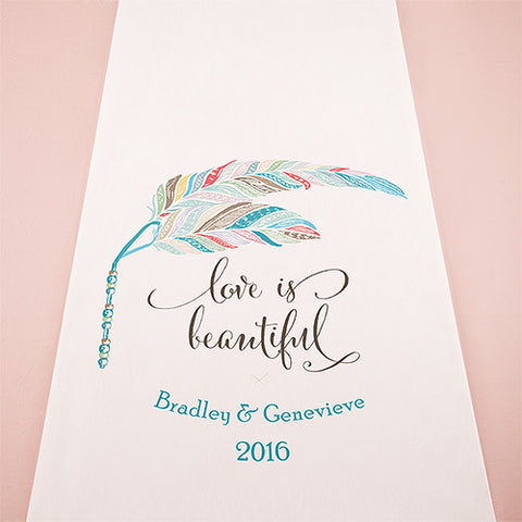 aisle, wedding aisle, aisle runner, runner, floor, personalize, non-woven, ceremony, wedding ceremony, white, hearts, purple, feather, whimsy