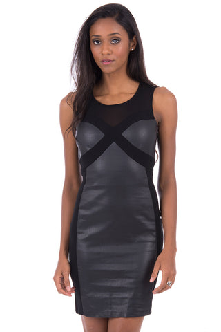 Black Bodycon Dress With Faux Leather Detail-Black-Large - UK (12-14)