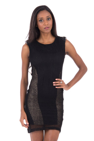 Black Bodycon Dress With Fishnet And Diamante Detail-Black-Large - UK (12-14)