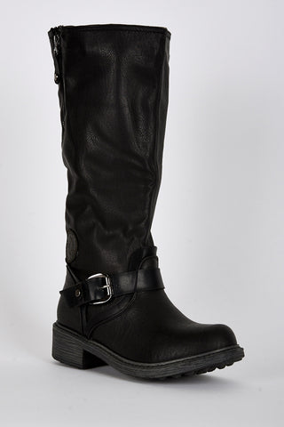Buckle Detail Rounded Toe Calf Boots-Black-UK 5 - EU 38