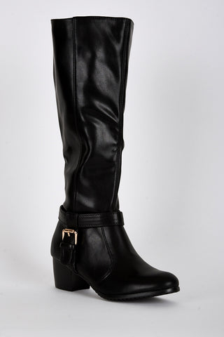 Ankle T-Strap Detail Calf Boots -Black-UK 6 - EU 39