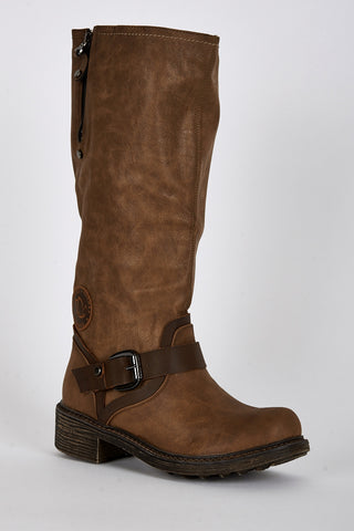 Two Tone Buckle Detail Rounded Toe Calf Boots-Brown-UK 4 - EU 37