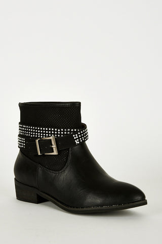 Double Strap With Diamante Detail Ankle Boots-Black-UK 7 - EU 40