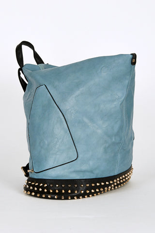 Studded Side Clasp Contrast Backpack In Light Petrol Blue-Blue
