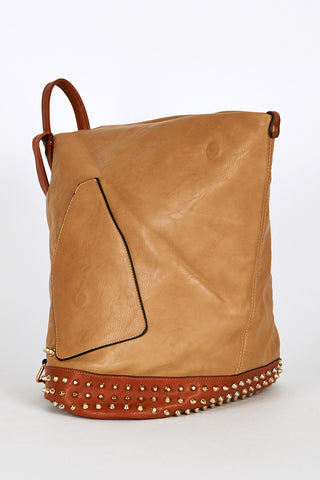 Studded Side Clasp Leatherette Backpack In Brown-Brown