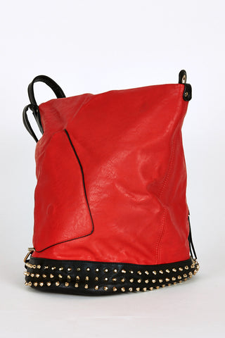 Studded Side Clasp Contrast Backpack In Red-Red