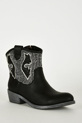 Textured Silver Leatherette Cowboy Boots In Black-Black-UK 7 - EU 40