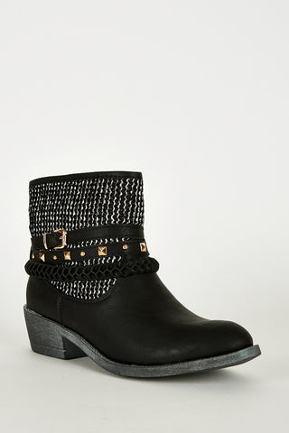 Triple Strap Detail Leatherette Western Style Boots-Black-UK 8 - EU 41