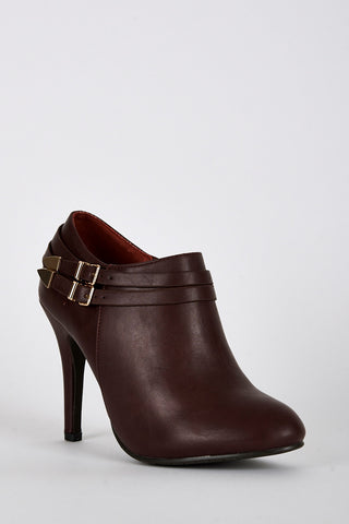 Leatherette Double Strap High Heel Ankle Boots -Burgundy-UK 8 - EU 41