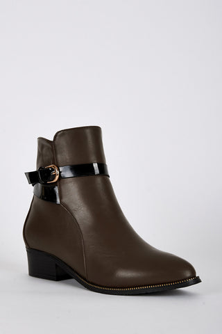 Leatherette Pointed Toe Ankle Strap Boots-Brown-UK 5 - EU 38