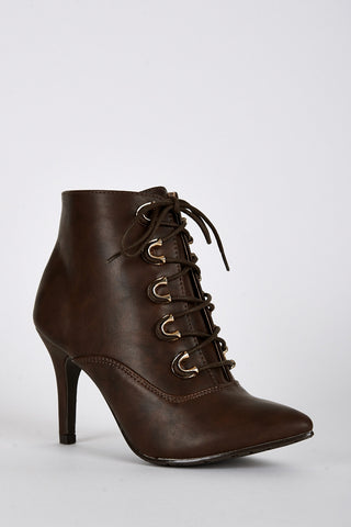 Lace Up Pointed Toe Heeled Boots-Brown-UK 8 - EU 41