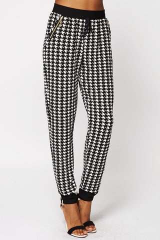 Monochrome Dogtooth Checked Joggers-Black-One Size - UK (6-12)