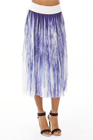 Leah Pleat Midi Skirt -Blue -L - UK (12-14)