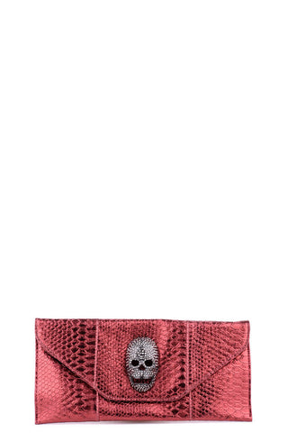 Faux Snake Skin Clutch With Diamante Skull