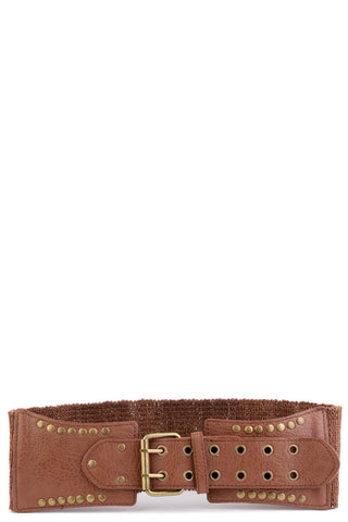 Elasticated Belt With Studded Faux Leather Front-Light Tan-Length - 65cm