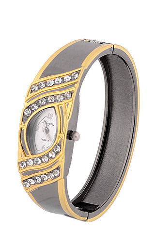 Diamante Front Watch with Gold Coloured Trim