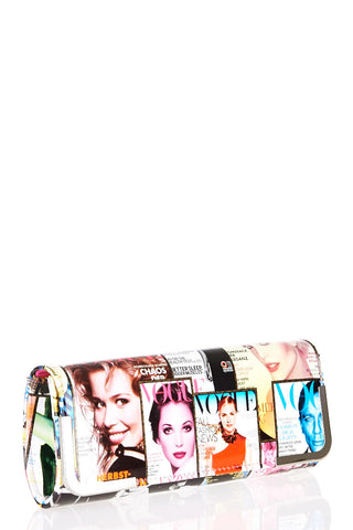 Magazine Print Clutch Bag-Coffee