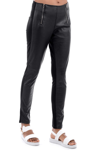 Zipped Trousers With Faux Leather Detail