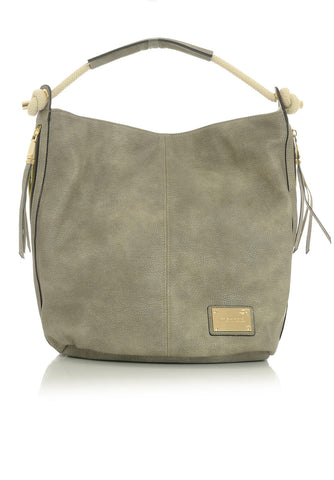 Gray Satchel Handbag with Tassel Zippers