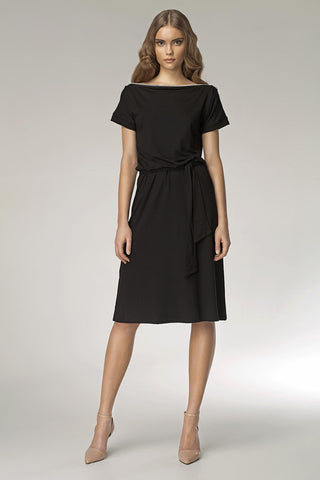 Black Shoulder Resting Knee Length Dress with Belted Tie