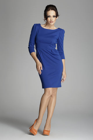 Deep Blue Ruched Long Sleeve Dress