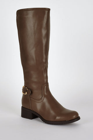 Stretch Panel Leatherette Boots-Brown-UK 7 - EU 40