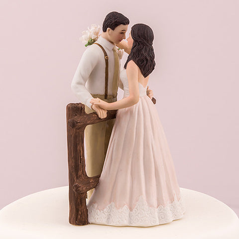 blush, dress, country, rustic, hand painted, porcelain, hand-painted, bride, wife, wedding reception, wedding, weddings, topper, Skin Color_Light, Ethnicity_Caucasian,  mix and match, mix & match, groom, figurine, husband, couple, cake topper, Cake Accessories_Cake Toppers, cake
