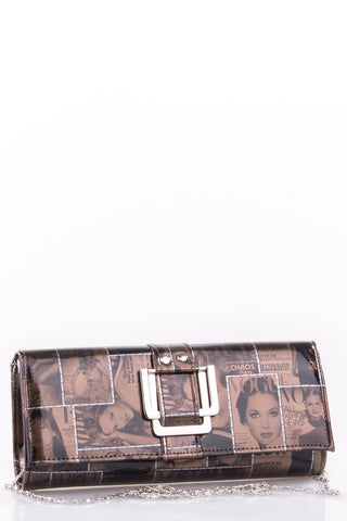 Vogue Print Clutch Bag with Buckle Detail-Coffee