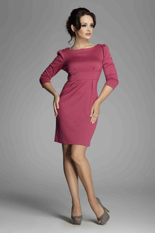 Fuchsia Ruched Long Sleeve Dress