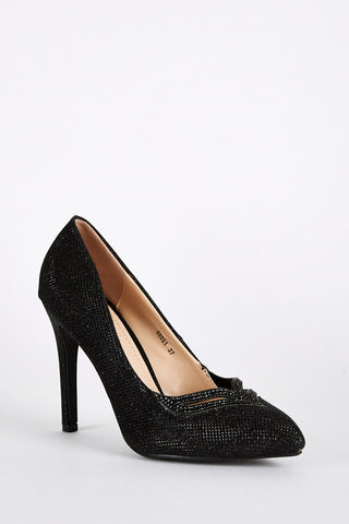 Black Diamante Embellished Sparkly Court Shoes-Black-UK 6 - EU 39