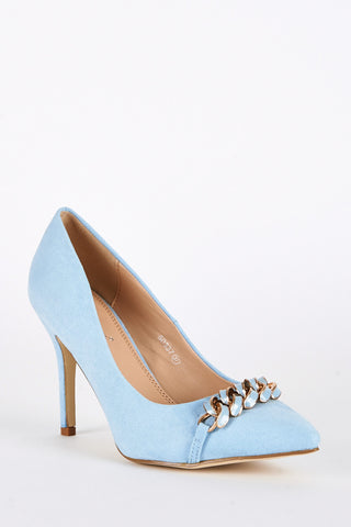 Faux Suede Court Shoes with Chain Detail-Blue -UK 6 - EU 39
