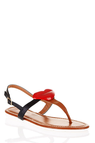 Lip Toe Post Sandals-Black-UK 5 - EU 38