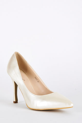 Patent High Pointed Court Shoes-Red-UK 4 - EU 37