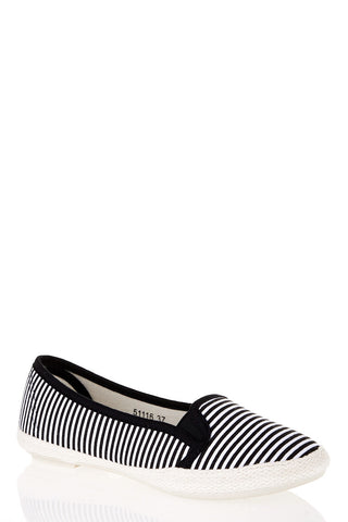 Stripe Canvas Pumps-Black-UK 6 - EU 39