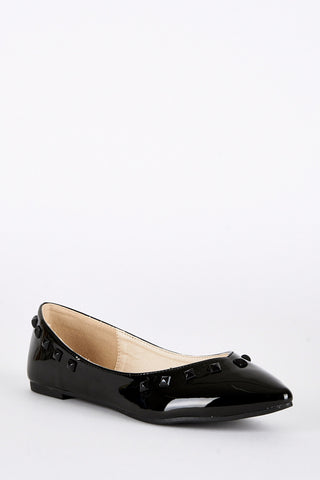 Black Pointed Toe Patent Pumps-Black-UK 4 - EU 37
