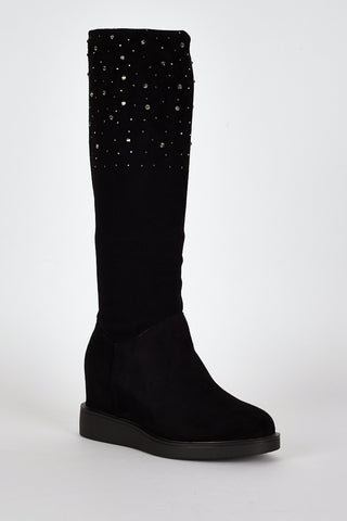 Black Suedette Diamante Detail Hidden Wedge Boots-Black-UK 8 - EU 41