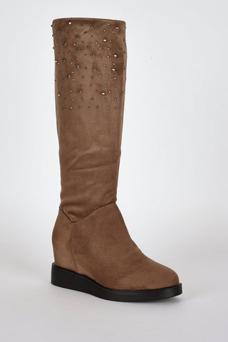 Brown Suedette Diamante Detail Hidden Wedge Boots-Brown-UK 8 - EU 41