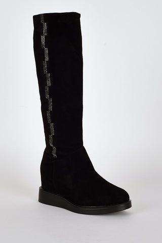 Diamante Side Detail Hidden Wedge Fitted Boots-Black-UK 8 - EU 41