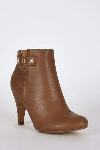Side Studs Detail Ankle High Heel Boots-Brown-UK 8 - EU 41