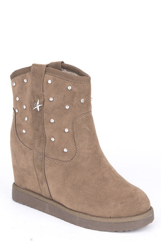 Diamante Studded Hidden Wedge Ankle Boots-Camel-UK 8 - EU 41