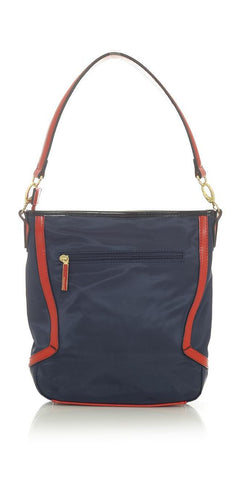 Navy Blue Tote Handbag with Red Trim