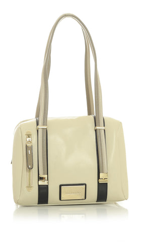 Cream Mini-Duffel Handbag with Taupe Tan and Black Accented Trim
