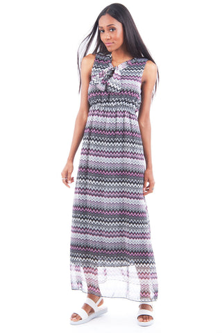 Chiffon Tribal Print Maxi Dress