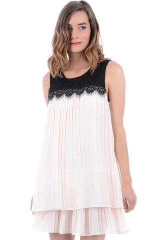 Pleated Chiffon Dress with Black Lace Detail -White-L/XL - UK (12-14)
